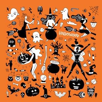 Silhuetas de halloween. bruxa, abóbora, gato preto e aranha para decoração de festa de halloween.