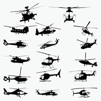 Silhuetas de helicóptero