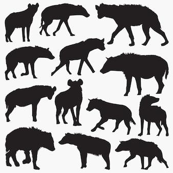 Silhuetas de hiena-malhada