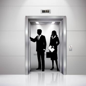 Silhuetas de homem e mulher formalmente vestidas