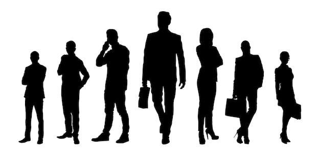 Silhuetas de homens e mulheres de negócios com estilo