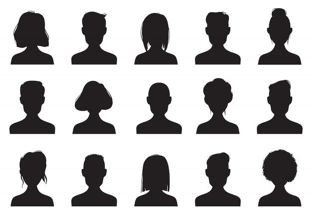 Silhuetas de ícones de perfil