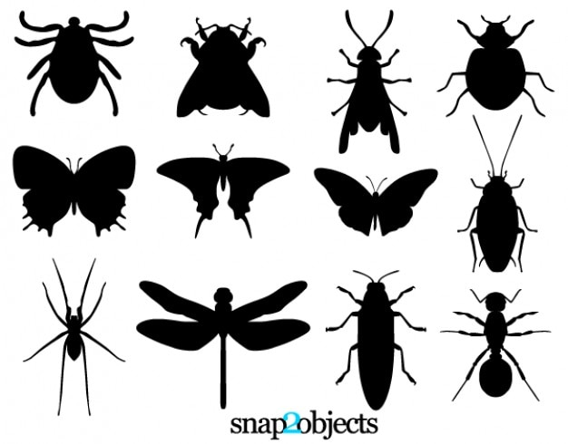 Silhuetas de inseto vetor livre