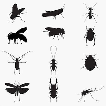 Silhuetas de insetos