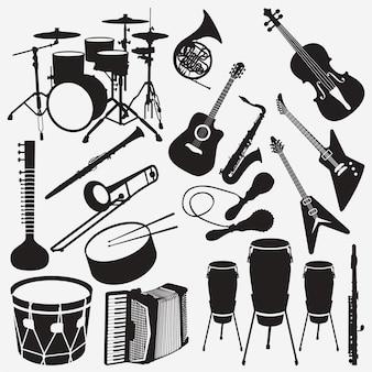 Silhuetas de instrumentos de música