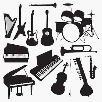 Silhuetas de instrumentos musicais