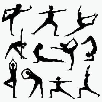 Silhuetas de ioga de mulher