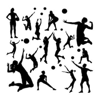Silhuetas de jogador de voleibol