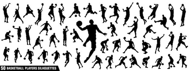 Silhuetas de jogadores de basquete