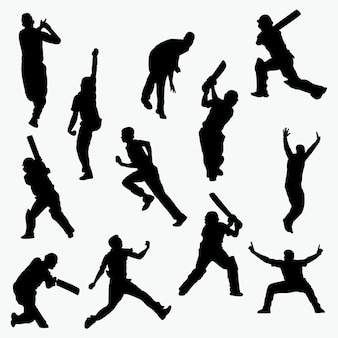 Silhuetas de jogadores de críquete