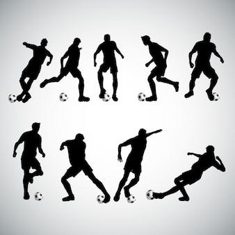 Silhuetas de jogadores de futebol em várias poses