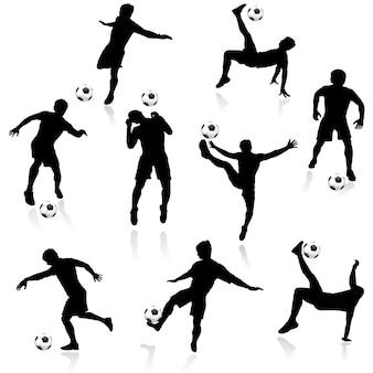 Silhuetas de jogadores de futebol