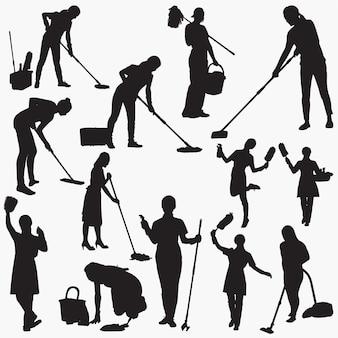 Silhuetas de limpeza de casa