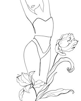Silhuetas de linha preta de corpo feminino em roupa interior com flores tulipas. - ilustração vetorial