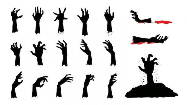Silhuetas de mãos de zumbi em ação diferente na coleção.