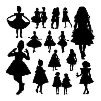 Silhuetas de menina pequena.