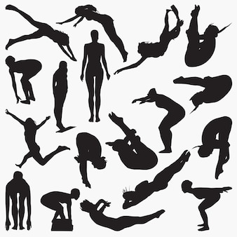 Silhuetas de mergulhador feminino