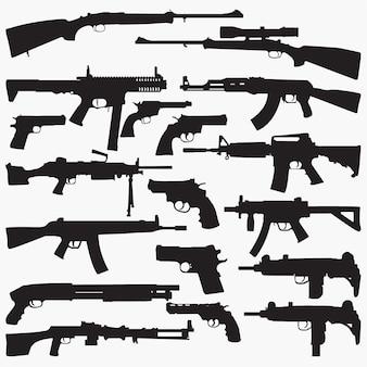 Silhuetas de metralhadoras