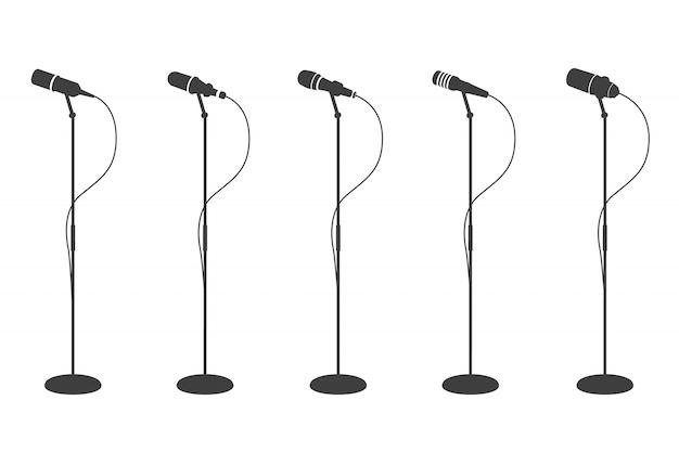 Silhuetas de microfone. microfones de pé equipamentos de áudio. e microfones de música de karaokê