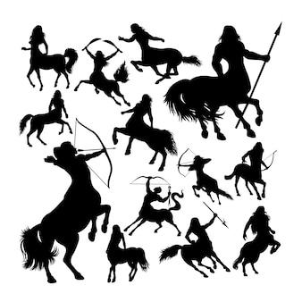 Silhuetas de mitologia antiga criatura centauro.