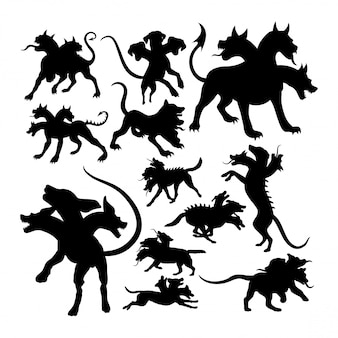 Silhuetas de mitologia cerberus criatura antiga.