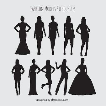 Silhuetas de modelos femininos set