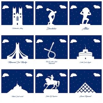 Silhuetas de monumentos