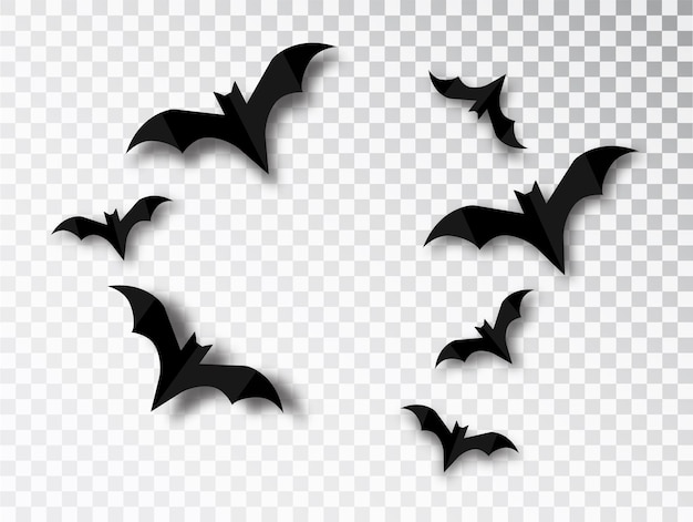 Silhuetas de morcegos solated em fundo transparente. elemento de design tradicional de halloween. conjunto de morcego vampiro de vetor isolado.