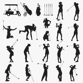 Silhuetas de mulher de jogador de golfe