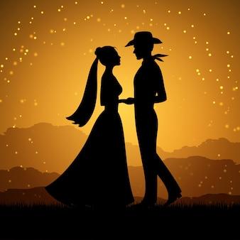 Silhuetas de mulher jovem e homem de vaqueiro