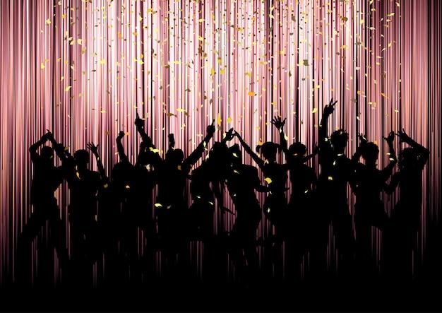 Silhuetas de multidão de festa com confetes