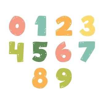 Silhuetas de números números bonitos para crianças