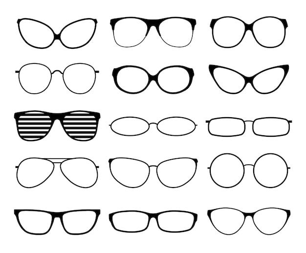 Silhuetas de óculos. armações de óculos de sol da moda, óculos pretos. óculos geek e hipster. óculos de mulher de homem.