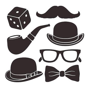 Silhuetas de óculos bigode, chapéu, cachimbo de fumar e gravata borboleta conjunto de ícones de vetor