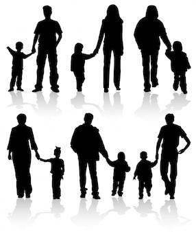 Silhuetas de pais com filhos
