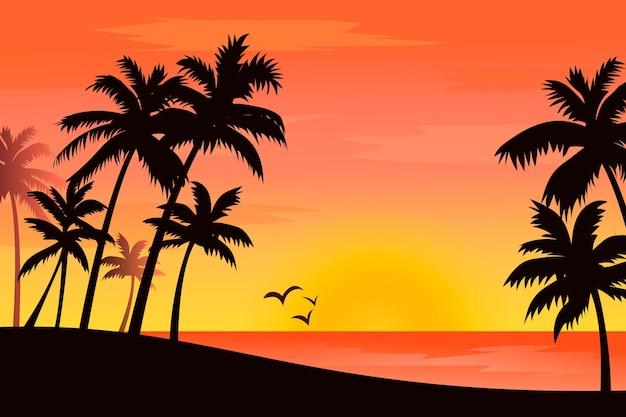 Silhuetas de palmeiras coloridas de estilo de fundo
