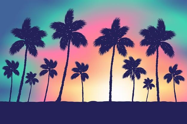 Silhuetas de palmeiras de fundo colorido