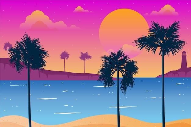 Silhuetas de palmeiras e farol