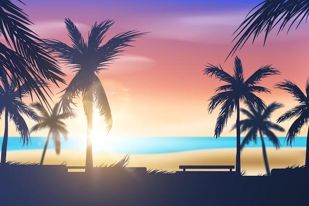 Silhuetas de palmeiras e fundo de praia
