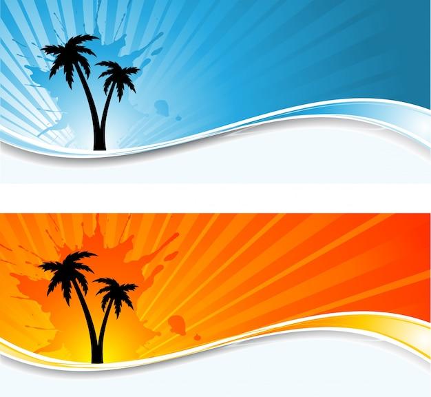Silhuetas de palmeiras na sunburst grunge fundos