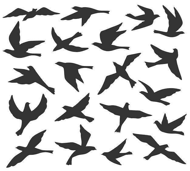 Silhuetas de pássaros. bando de pássaros voadores, migração de animais selvagens, pombas voam no céu. conjunto de vetores de modelos de tatuagem preta. coleção de pombos em diferentes posições isolada na ilustração branca