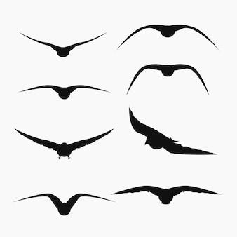 Silhuetas de pássaros voando em conjunto em branco
