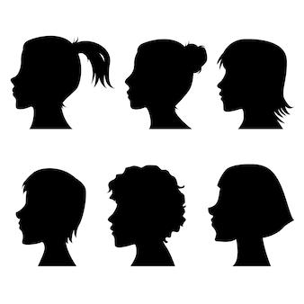 Silhuetas de perfil feminino