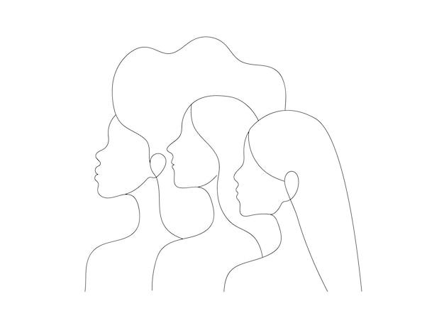 Silhuetas de perfil vetorial de três mulheres diferentes em estilo minimalista de arte
