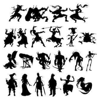 Silhuetas de personagens de desenhos animados fantasia
