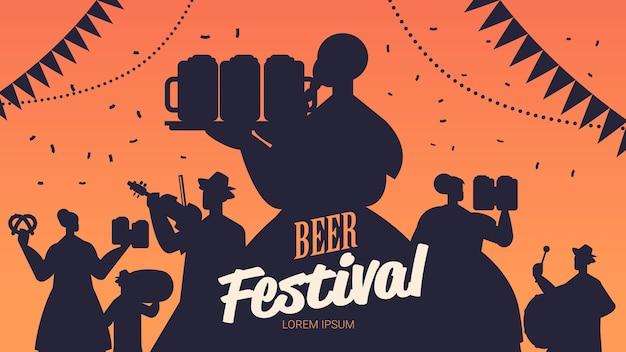 Silhuetas de pessoas celebrando o festival da cerveja