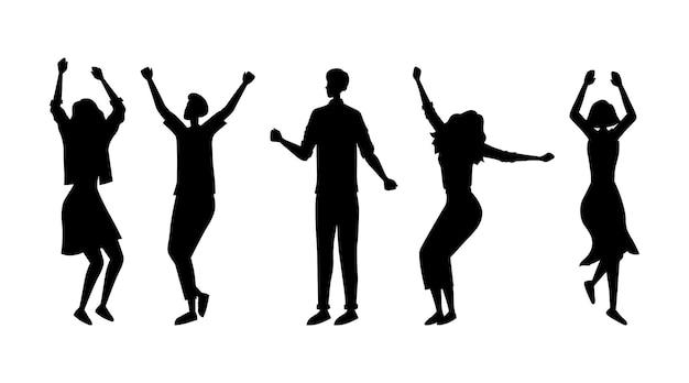 Silhuetas de pessoas da moda dançando juntas