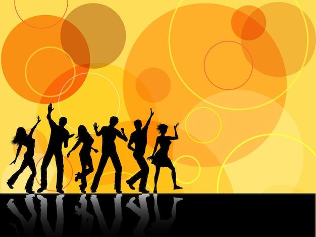 Silhuetas de pessoas dançando em fundo retrô