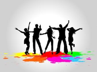Silhuetas de pessoas dançando em um fundo do grunge