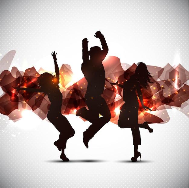Silhuetas de pessoas dançando em uma superfície abstrata